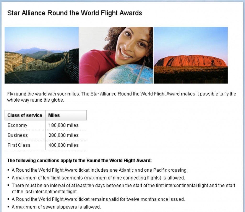 Star Alliance RTW Award Ticket