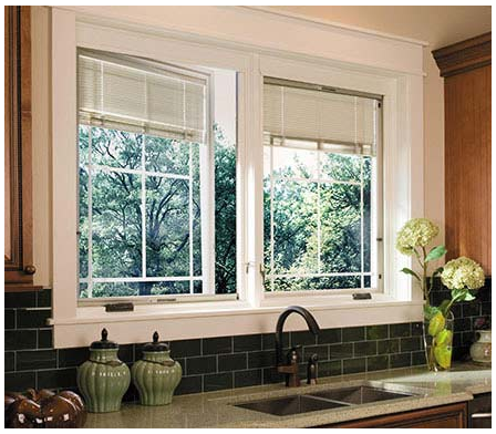 Pella Designer Casement Windows - Snap-in Shades