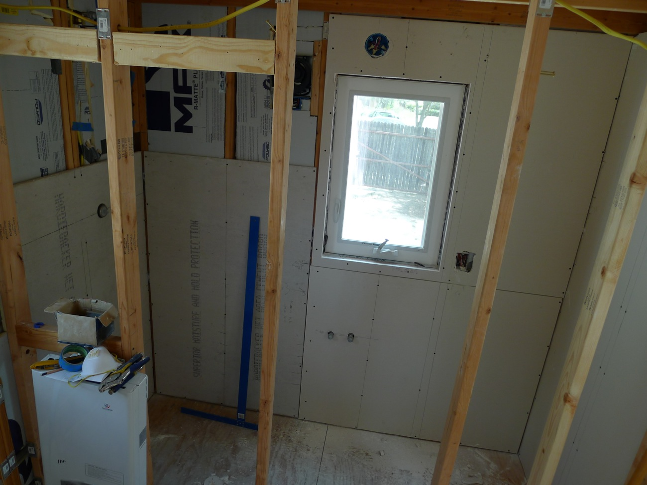 Tiny house finish drywall photos bathroom and shower 02 What sheetrock to use in bathroom